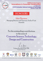 Certificate awarded to John Harrison at the UKIERI Conference 2013